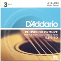Струны D'Addario EJ16-3D Phosphor Bronze 12-53 3 sets