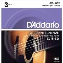 Струны D'Addario EJ13-3D Bronze 80/20 11-52 3 sets