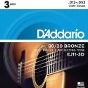 Струны D'Addario EJ11-3D Bronze 80/20 12-533 sets