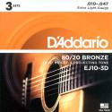 Струны D'Addario EJ10-3D Bronze 80/20 10-47 3 sets