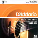 Струны D'Addario EJ10-3D Bronze 80/20 10-47 1 set