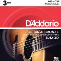 Струны D'Addario EJ12-3D Bronze 80/20 13-56 3 sets